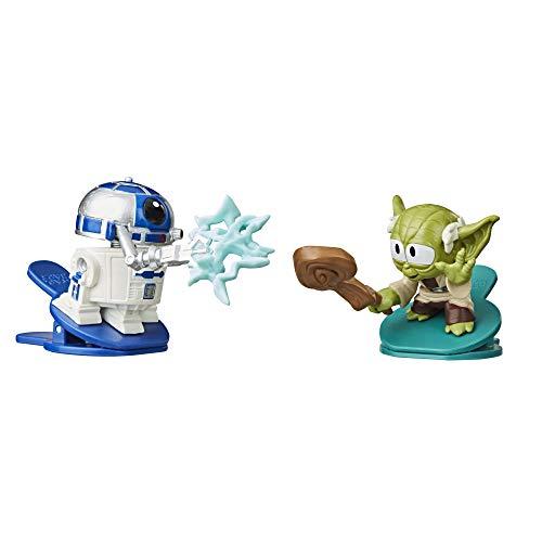 Star Wars Battle Bobblers R2-D2 Vs Yoda Figura de acción de Batalla Clippable, Paquete de 2, Juguetes para niños a Partir de 4 años