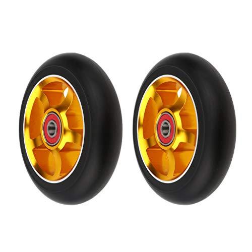 1 par de ruedas de scooter, aleación de aluminio de 100 mm AOD (oro)