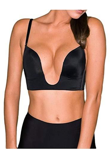 Fullness Womens Sexy V Shape Push Up Deep Plunge Convertible V Bra Max Cleavage Booster Shaper Black 34C