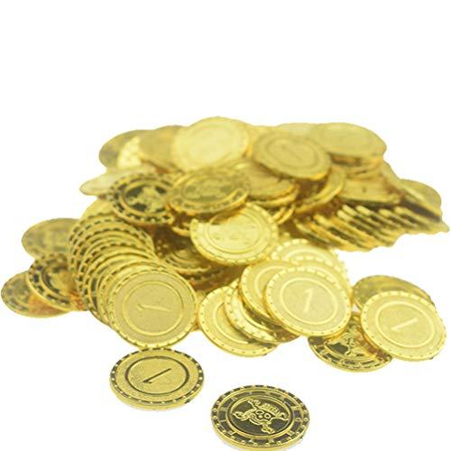 Phayee Halloween piraten gouden munten, 100 stuks piraten gouden munten en piraten piratenschat, kunststof spel munten Halloween speelgoed set party souvenir