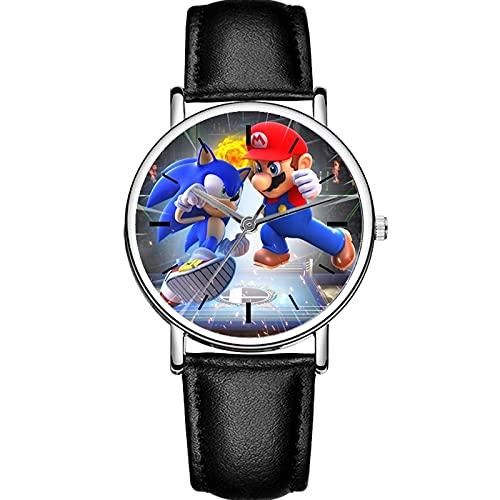 Sonic Geschenk 2021 New Hedgehog Sonic VS Mario Kinderuhren Lässiges schwarzes Lederarmband Quarzwerk Kinderhandgelenk