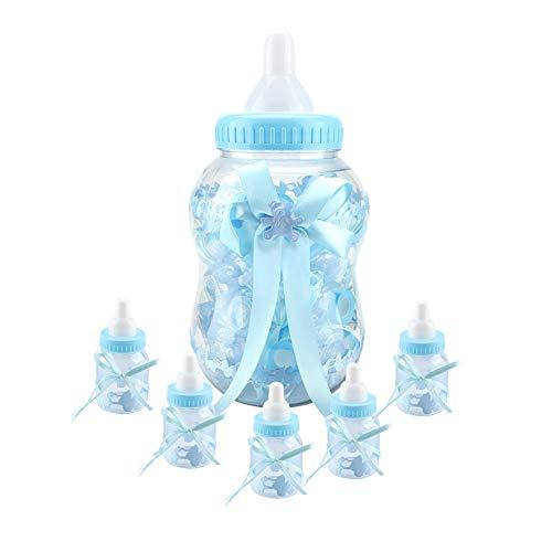 Baby-Süßigkeitsflaschen, 30 Stück Mini Babyflaschen Süße Babyflasche mit Schleife, Pralinenschachtel für Gefälligkeiten, Süßigkeiten, Konfetti, Geschenke für Geburtstags- / Partybevorzugungen(Blau)