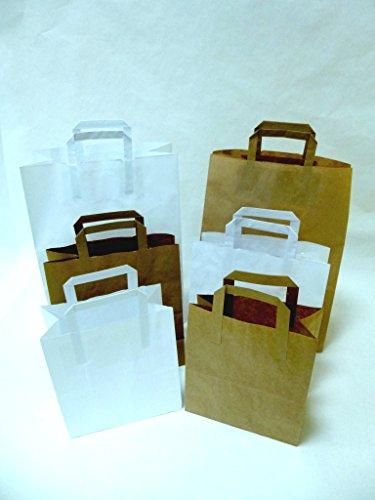 50 St. Papiertragetaschen weiß mit Henkel 320x200x250 mm mit extra breitem Boden, (Konditorenbeutel) Papiertüten, Papierbeutel, Einkaufstüten, Geschenktüten