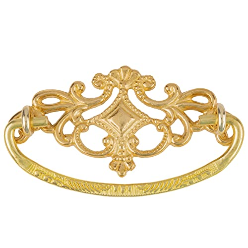 Victorian Crowned Style Solid Brass Drawer Bail Pull   Centers: 3'   Handle for Antique Cabinet Door, Dresser Drawer, Desk   Furniture Reproduction Hardware   P22-B3596SB