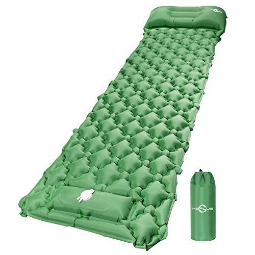 KEPLUG Isomatte selbstaufblasend Camping, luftmatratze Camping mit Fußpresse Ultraleicht, ufblasbare matratze für Camping, Strand, Reise, Outdoor, Wandern 195x60x6cm (Grüm)