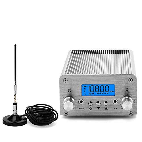Radio FM Transmitter, Elikliv 5W / 15W PLL 87~108MHz LCD Wireless Radio Stereo Broadcast with Telescopic Antenna, FM Transmitter for Church,Car Theater,Radio Station,Big Mall