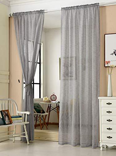 WOLTU VH6065dgr-2, 2er Set Gardinen transparent mit Kräuselband Leinen Optik, Doppelpack Vorhang Stores lichtdurchlässig Fensterschal für Wohnzimmer Kinderzimmer Schlafzimmer, 140x145 cm Grau