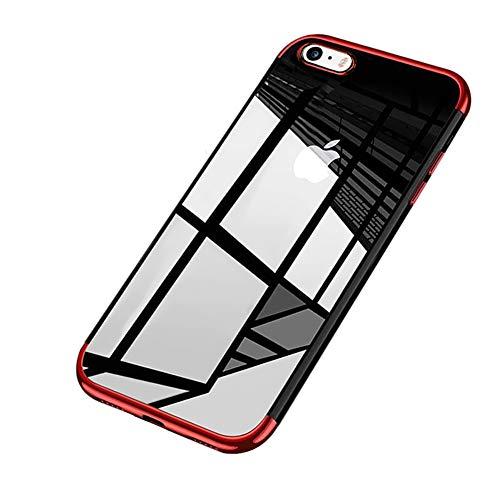 Surakey Cover iPhone 5/5S/SE, Ultra Trasparente HD Crystal Clear TPU Silicone Cover Bordo Placcatura Colorata Soft Touch Protettiva Skin Ultra Sottile e Morbida Custodia per iPhone 5/5S/SE,Rosso