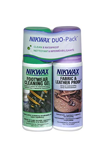 Nikwax Fabric and Leather Footwear Clean/Waterproof DUO-Pack, Spray-On, 2- 4.2 -ounce bottles