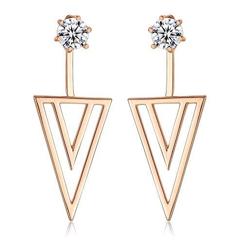 OUHUI Accesorios Pequeños Fashion Ear Anillos Triángulo Imitado Zircon Pendientes Damas Pendientes Joyas Regalos para Mujeres Exquisito/A