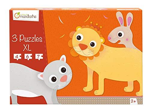Avenue Mandarine 42702O - Une boite de 3 puzzles XL (4, 6 et 7 pièces), Animaux poilus