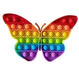 IMAGO 1x Push Pop Pop Bubble Pop IT Push in Regenbogen Farbe zur Ablenkung bei Stress & Nervosität für Kinder und Erwachsene Fidget (Schmetterling)