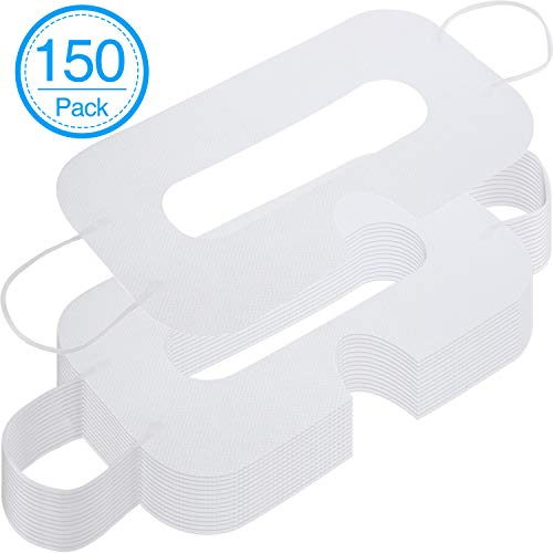 BBTO 150 Pack Disposable Mask Non-Woven Sanitary Eye Mask White Eye Mask Cover Compatible with VR Headset H-T-C Vive Virtual Reality Headset (White)
