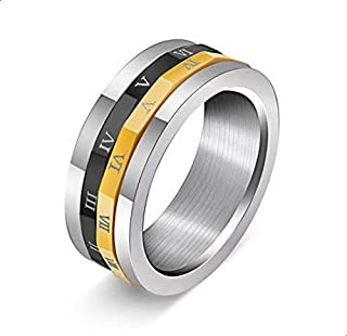 Men's Titanium Ring with Roman, Gold, Silver and Black Size 7