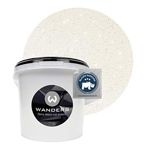 Wanders24® Glimmer-Optik (3 Liter, Silber-Weiß) Glitzer Wandfarbe - Wandfarbe Glitzer - abwaschbare Wandfarbe - Glitzerfarbe - Made in Germany