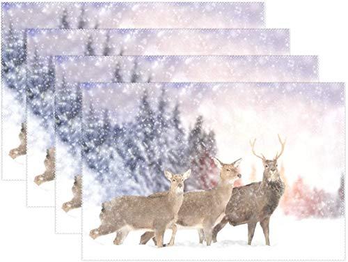 HEOH Manteles Individuales de 12 x 18 Pulgadas, Juego de 6, Christmas Winter Deer Snow Table Mat Mesa de poliéster para Cocina Comedor para niños