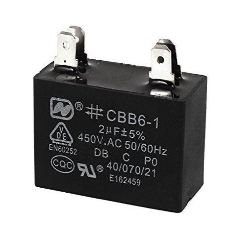 DealMux AC 450V 2uF 4 Pin del motor del ventilador Correr capacitor, Negro, CBB6-1