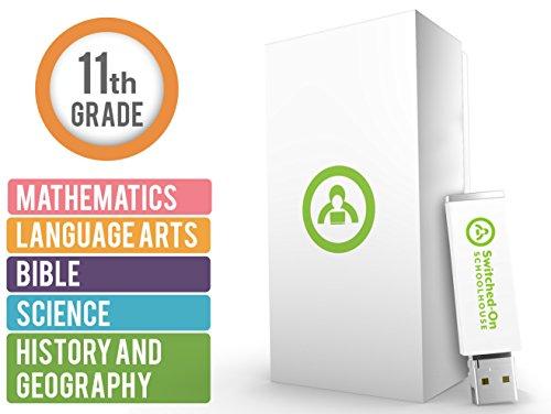 Switched On Schoolhouse 11 Grau Homeschool 5 Assunto Curriculum Set - Ano Inteiro da Biblia, História e Geografia, Idiomas, Matemática e Cursos de Ciência - Classe USB para Escola Doméstica para Grau 11