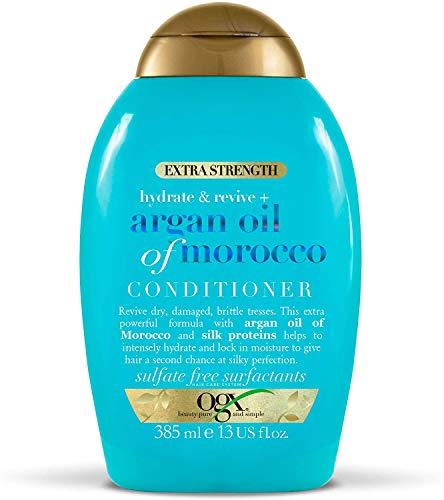OGX Acondicionador Hidratante sin Sulfatos para Pelo Dañado, Aceite de Argan de Marruecos, Extra Strength, 385 ml