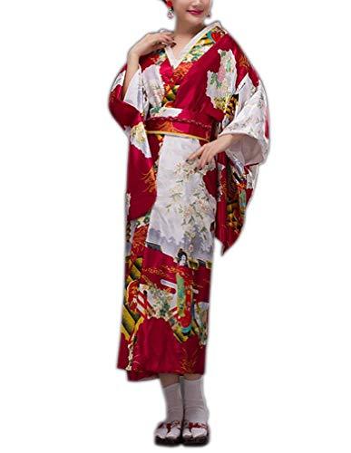 Señoras Geisha Japonesa Kimono Bata Larga Bata Pijama Mujeres Yukata Casuales Pijama Albornoz Chemise (Color : Winered, Size : One Size)