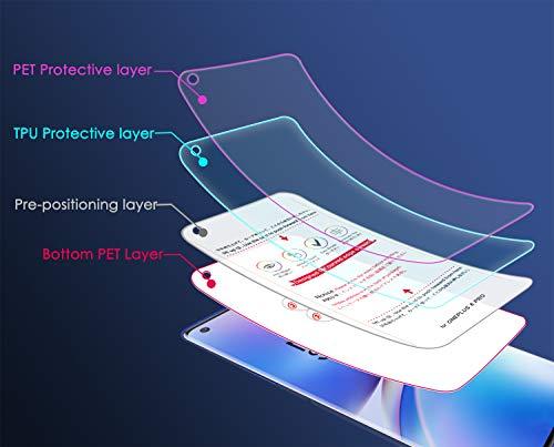 NEWZEROL 3 stück Ersatz für OnePlus 8 Pro Schutzfolie In-Screen-Fingerabdruckerkennung [Premium-Qualität] Anti-Bubble TPU 3D Edge-to-Edge [Vollabdeckung] Soft-Displayschutzfolie