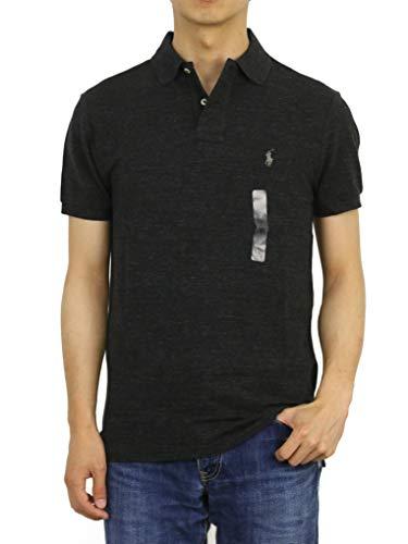 (ポロ ラルフローレン) POLO Ralph Lauren カスタム スリム フィット メンズ 鹿の子 半袖 ポロシャツ CUSTOM SLIM FIT 0105607 (US M (日本L相当), BLACK HTR) [並行輸入品]