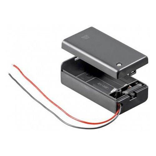 Batteriehalter | 9V Block | mit EIN Aus Schalter | lose Kabelenden | geschlossenes Gehäuse | wasserabweisend | schaltbar | Batteriefach Akkuhalter Aufbewahrungsbox | 1 Stück