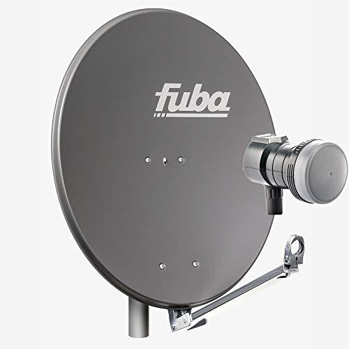 Fuba 1 Teilnehmer Sat Anlage DAL 801 A | Sat Komplettanlage mit Fuba DAL 800 A Alu Sat-Schüssel/Sat-Spiegel anthrazit + Fuba DEK 117 Single LNB für 1 Receiver/Teilnehmer (HDTV-, 4K- und 3D-kompatibel)