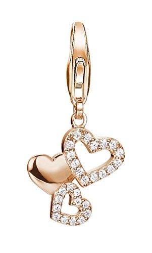 ESPRIT Damen-Charm Pile of Hearts 925 Silber rhodiniert Zirkonia weiß Rundschliff - ESCH91337C000