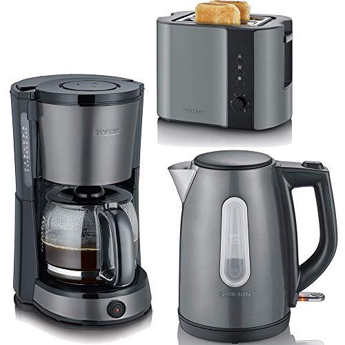 SEVERIN Frühstücksserie im modernen grau-metallic Design 3 Geräte= 1Preis