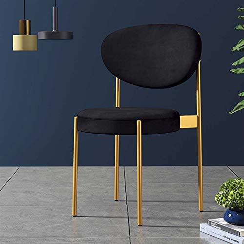 GZLL Sillas de Comedor, sillones, sillas de Acento, con Patas de Silla de Metal, velvtos Suaves, Vintage (Color : Negro)