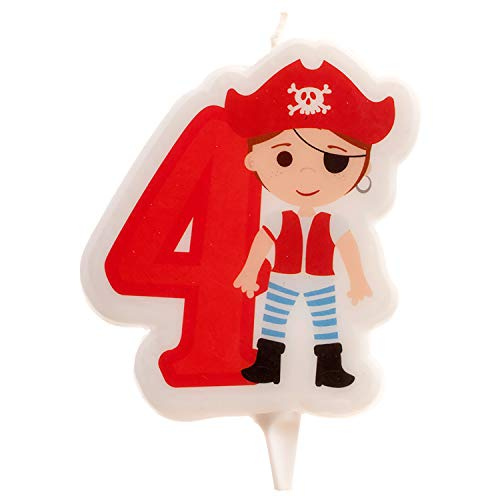 Dekora- Vela de Cumpleaños 2D de Pirata para Tartas Infantiles - Numero 4 (345258)