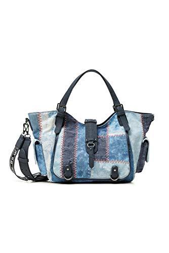 Desigual Denim Shoulder Bag, Bolso Bandolera. para Mujer, Azul, U