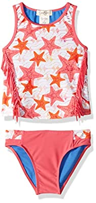 Jessica Simpson Girls' Big Two-Piece Tankini Swimsuit Set, Fringe Front Star Print, 12
