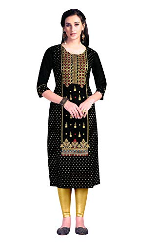 ladyline Rayon Crepe Gold Printed Kurti Kurta Indian Tunic for Women (Size-40/ Black)