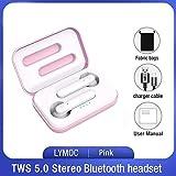 WGSI TWS Senza Fili Auricolari Bluetooth 5.0 Auricolari Worktime 4Hrs Touch Auricolari Stereo delle Cuffie con Microfono for iOS e Android (Color : Pink Fabric Bag)