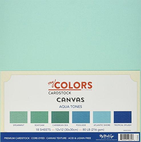 My colori Cartoncino 30 x 30 cm, 18 pezzi, tonalità di cartoncino, in tela, colore: verde acqua