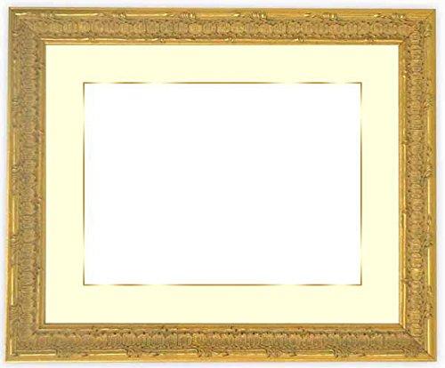 写真用額縁 9386/ゴールド写真全紙(560×457mm) 木製額縁 ガラス マット付(金色細縁付き) マット色:黒