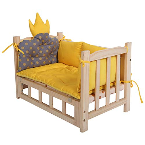 Dog Beds Wooden Pet Dog Beds, Portable Cats Dogs Lounge for Large Medium Small Dogs, Safety Elevated Cot Puppy Sofa with Washable Mattress (Size : 60 × 38 × 42cm)