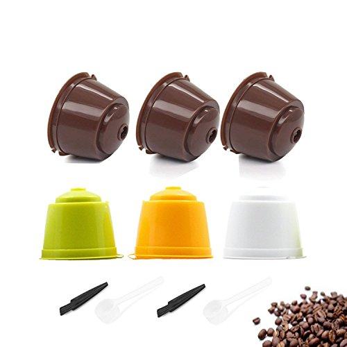 TANGGER 6PCS Kaffeekapsel Wiederverwendbare Nachfüllbare Kapseln Kaffeefilter Kaffee Kapseln Dolce Gusto für Genio, Mini Me, Piccolo, Esperta und Circolo(Braun, Grün, Weiß, Gelb)