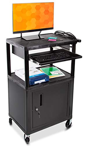 Line Leader Plastic AV Cart w/Locking Cabinet | Heavy Duty Mobile Workstation Supports 400 lbs | Includes Pullout Keyboard Tray & Cord Management | Great for Offices & Schools (Black / 27 x 18 x 42)