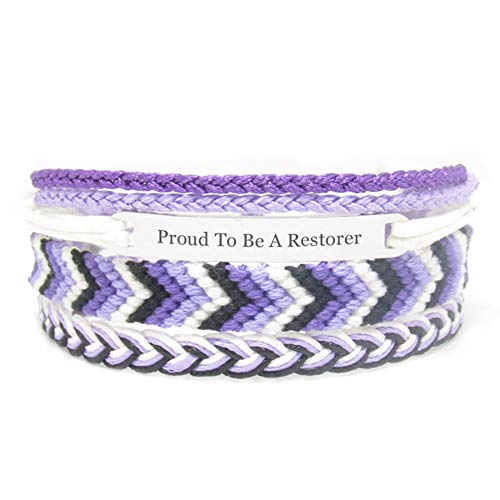 Miiras Job Engraved Handmade Bracelet - Proud to Be A Restorer - Purple 1 - Made of Embroidery Thread and Stainless Steel - Gift for Restorer