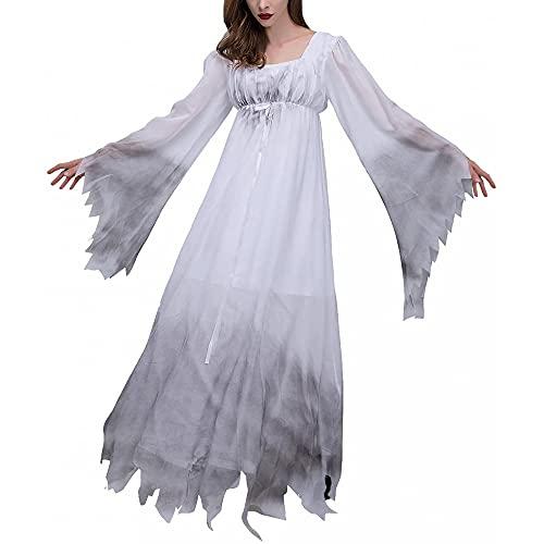 Yu Liao Disfraz de Vampiro para Mujer, Disfraz de Novia, Disfraz de Cosplay de Halloween para Adultos, Vestido de Encaje Blanco hasta el Suelo, Disfraz de Fantasma, Vestidos de Cuello Cuadrado
