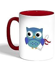 Graduation - Owl picture Printed Coffee Mug, Red Color (Ceramic)