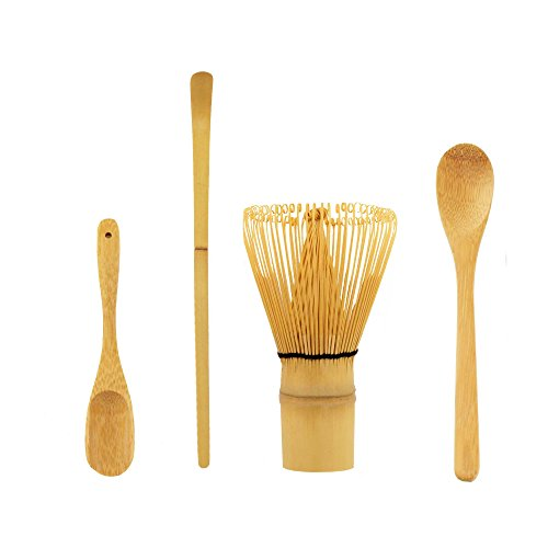 BambooMN Japanese Tea Set, Matcha Whisk (Chasen), Traditional Scoop (Chashaku), Deep Scoop, Teaspoon, The Perfect Set to Prepare a Traditional Cup of Matcha - 1 Set
