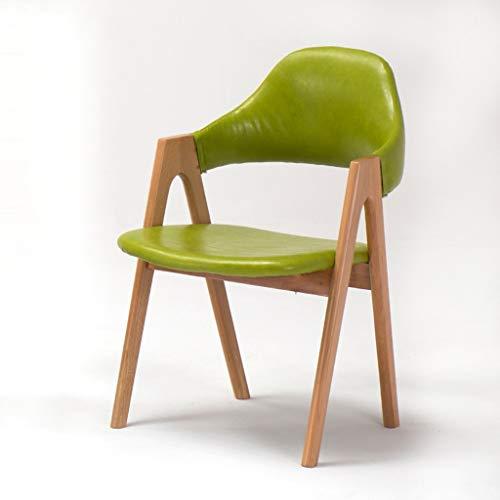 JHDY sillón Ocio Mesa y Silla Retro Sillón de Comedor de Madera Maciza PU Estudio sillón Cama Lounge Hotel Restaurant Chair