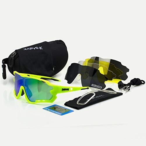 RSTT Gafas de ciclismo para hombre, gafas de sol para bicicleta, placa polarizada, 5 lentes, gafas para mujer, mountain bike, deporte, accesorios de pesca