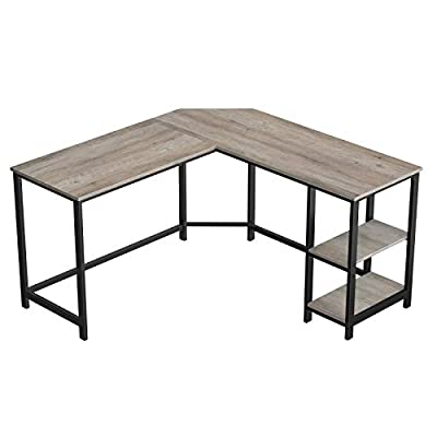 VASAGLE Industrial L-Shaped Computer Desk, Corner Desk, Office Study Workstation with Shelves for Home Office, Space-Saving, Easy to Assemble