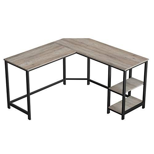 Escritorio de esquina VASAGLE, mesa de computadora en forma de L, mesa de estudio, con estante de almacenamiento, para oficina en casa, ahorro de espacio, fácil montaje, estilo industrial, gris pardo y negro LWD72MB