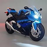 HBSM Juguetes de simulación clásicos en Miniatura 1:12 Modelo de Motocicleta Deportiva fundida a presión para réplica S1000RR con Sonido y luz (Color : White.)
